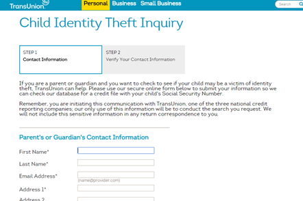 This is what the TransUnion Child ID Theft page looks like. You can start the process online and follow up with verification through the mail.