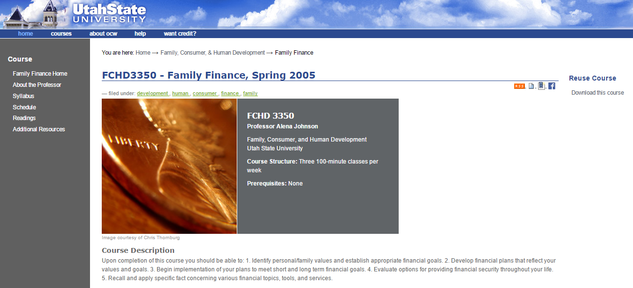 Utah State free online course for financial success
